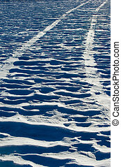 Offroad driving - Tire tracks on snow