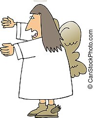 Singing angel - This illustration depicts a singing angel