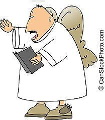 Singing angel - This illustration depicts a singing angel.
