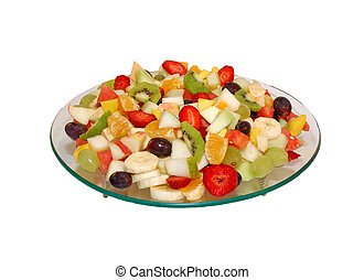 Fruit salad on glass plate . Fruits are bite size . White isolated backround