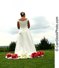 Hilltop bride - A bride on a hilltop pondering the future