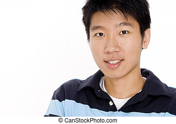 Young Guy - A young chinese man in casual top on white...