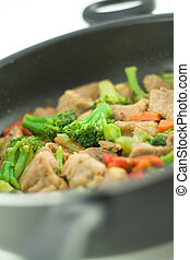 Stir fry in a pan