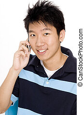Man On Phone - A young chinese man using a phone