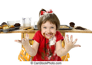 Half Baked - Three adorable toddler girl covered in cake mix...