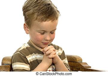 Menino, pequeno, orando