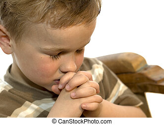 niño, poco, rezando
