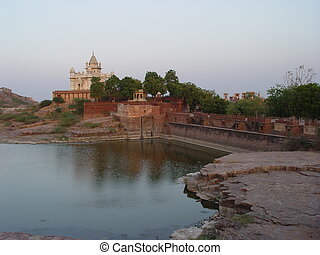 Place of cremation of the Maharaja. India - Rajasthan -...
