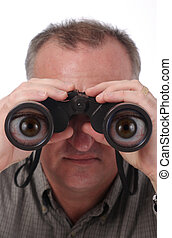 Cartoon Eyes in Binoculars - man looking through binoculars...