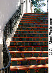 Spanish Steps - Spanish style stairs in the city of Ojai,...