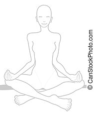 HATHA YOGA CHAKRA ON - A graphic stilized model is playing...