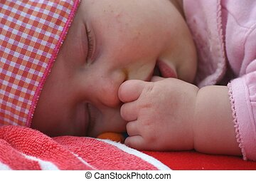 sleeping beauty - baby in pink fallen asleep