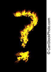 CG ? Flame - Computer generated flame question mark.