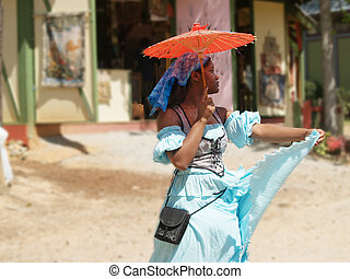 Street Dancing - Young girl dancing in the streets of Kenya