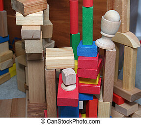 Building blocks stacked up in towers.