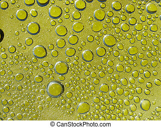 Waterdrops on yellow background