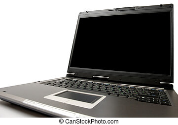 Laptop computer on a table close-up isolated - Black laptop...