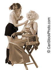 Prepping up Marilyn - make up artist doing Marilyns make up...