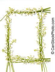 百合花, 山谷, 花, 紙, 框架, 邊框, 被隔离,...