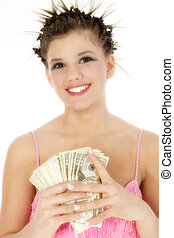Rich Girl - Beautiful young girl with handful of money