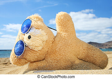 Holiday Teddy - Teddy bear on a beach holiday