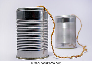Tin can telephone - A telephone made from tin cans