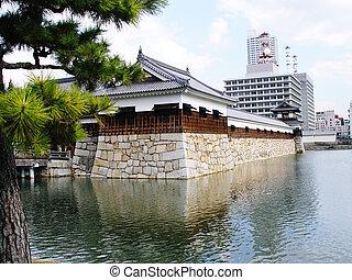 Japan Hiroshima Castle - A city of southwest Honshu, Japan,...