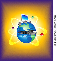Computerized World - Digital illustration. Gradient mesh,...