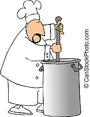 Chef - This illustration depicts a chef stirring a large pot...