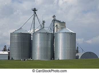 Metal Silos - Farm Photo: Waterloo, Ontario Canada