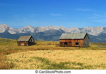 Norwegian, 1700's, style, barns, Montana