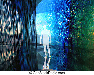 Hydro space - Human silhouette in digital interior buildt...