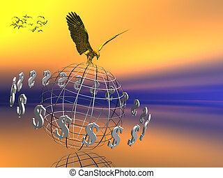 dollar world with eagle on top.