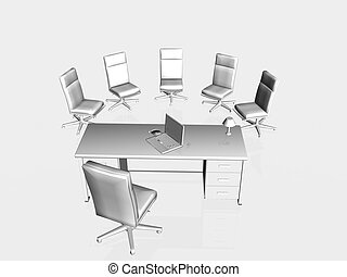 Job interview, application - Top view on a bureau and chairs...