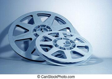 Film reels - 16mm film spools in blue tonation