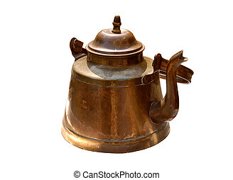 Antique old copper kettle isolated - Antique rustic retro...