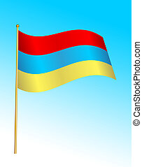 Flag - Armenia 2 - Digital illustration. Gradients, warp.