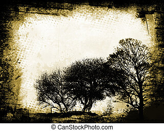 Grunge trees - Tree silhouettes on grunge background
