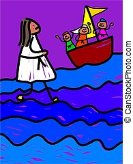 Jesus walks on water - childs style drawing of jesus walking...