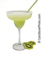 Margarita Swamp - green margarita decorated with sliced kiwi