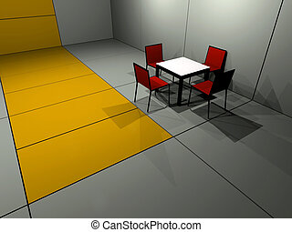 Four chair table - Rendered room with one cafe table