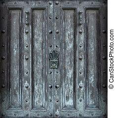 grande, sólido, hierro, puerta