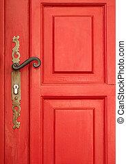 magia, rojo, puerta