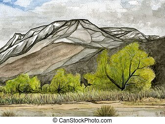 Mount Tom - Watercolor painting of Mt Tom in the Eastern...