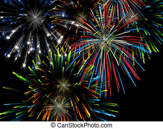 Fireworks - 3D illustration, wallpaper, background...