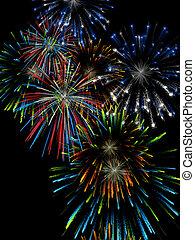 Fireworks - 3D illustration, wallpaper, background...
