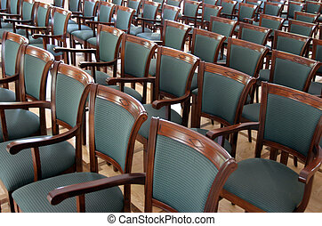 Audience - Stylish wooden chairs with upholstery in array
