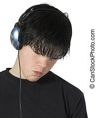 teen music 8 - isolated teen with headset and expression