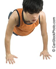 workout - isolated teen doing pushups