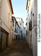 narrow street - narrow cobblestone street in Europe
